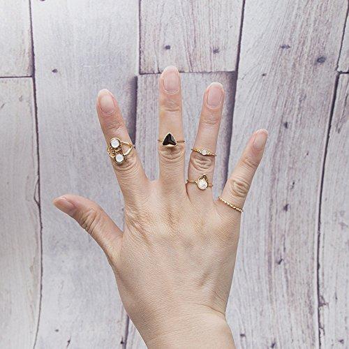 shuaiguo Bague à diamant rétro européenne et américaine 5 ensembles, anneaux de joint