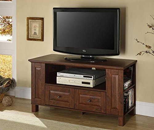 - 44-Inch Classic Brown Wood Flat Screen TV Stand Media Console Storage Cabinet with Drawers