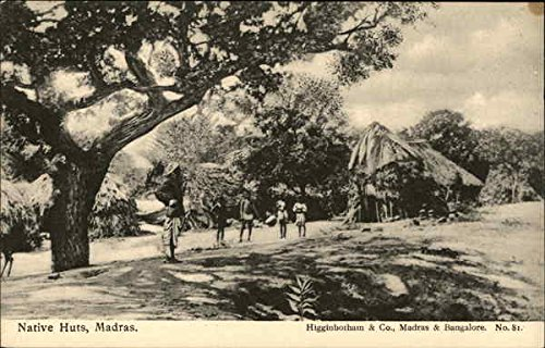 Native Huts Madras, India Original Vintage Postcard (Postcard Native Huts)