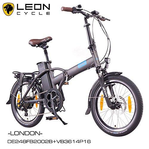 NCM London 20 Zoll Elektrofahrrad,E-Faltrad,E-Bike,Pedelec,Klapprad,36V 250W Bafang Motor, 36V Li-Ion Akku mit 14Ah PANASONIC Zellen,weiß,dunkel blau,schwarz,anthrazit (Anthrazit)