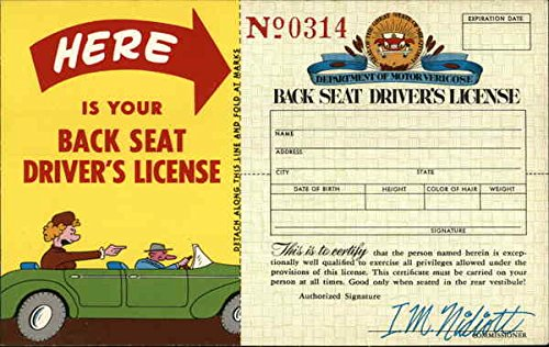 Back Seat Drivers License Comic Funny Original Vintage Postcard from CardCow Vintage Postcards