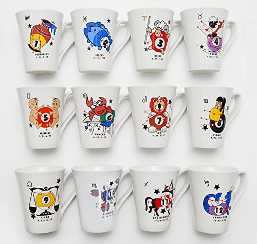 Set of 12, Ceramic Unique Coffee Tea Ceramic Drinking Mug with Handle, Billiards and Pool Gifts, Zodiac Sign