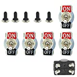 E Support Car Univeral Heavy Duty 20A 125V DPST 4Pin ON/OFF Rocker Toggle Switch Metal Waterproof Boot Cap 12mm Pack of 5