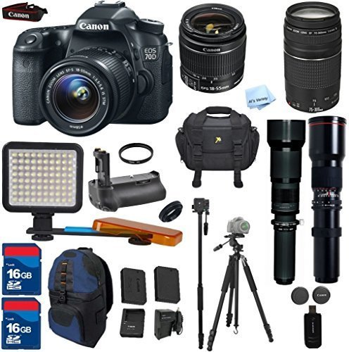 Canon EOS 70D DSLR Camera & 18-55mm & 75-300mm III & 650-1300mm & 500mm Lenses. ALS VARIETY Kit Includes, Battery Grip + 2 Pcs - 16GB Card + Accessory Bundle - International Version