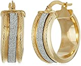 14k Italian Yellow Gold Glitter Hoop Earrings