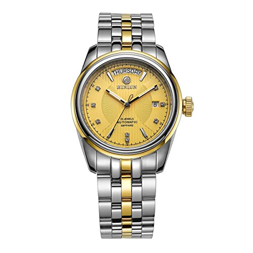 BINLUN 18K Gold Plated Self Winding Mechanical Watches for Men Two Tone Swiss Automatic Movement
