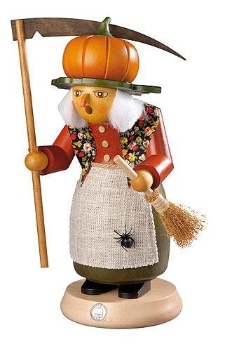 ISDD German incense smoker Halloween witch with pumpkin, height 25 cm/10 inch, original Erzgebirge by Mueller Seiffen