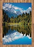 Landscape Area Rug by Lunarable, Mirror Reflection on Lake by the Forest with Cloudy Sky in Southern Alps, Flat Woven Accent Rug for Living Room Bedroom Dining Room, 5.2 x 7.5 FT, Green Blue White