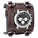Avaner Mens Retro Steampunk Hip-hop Gothic Brown 74mm Wide Leather Cuff Bracelet Sport Watch Women Big Dial Analog Quartz Wrist Watch 6