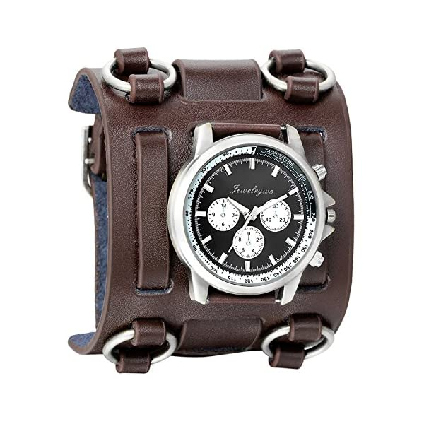 Avaner Mens Retro Steampunk Hip-hop Gothic Brown 74mm Wide Leather Cuff Bracelet Sport Watch Women Big Dial Analog Quartz Wrist Watch 3