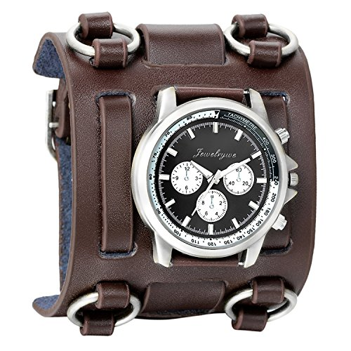 Dial Brown Leather Cuff (Avaner Mens Retro Steampunk Hip-hop Gothic Brown 74mm Wide Leather Cuff Bracelet Sport Watch Women Big Dial Analog Quartz Wrist Watch)