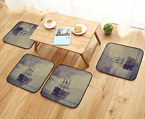 (Leighhome Fillet Chair Cushion Sailboat Decor Old Pirate Ship in The Sea Legend Cruise Retro Voyage Grunge Suitable for The Chair W13.5 x L13.5/4PCS Set)
