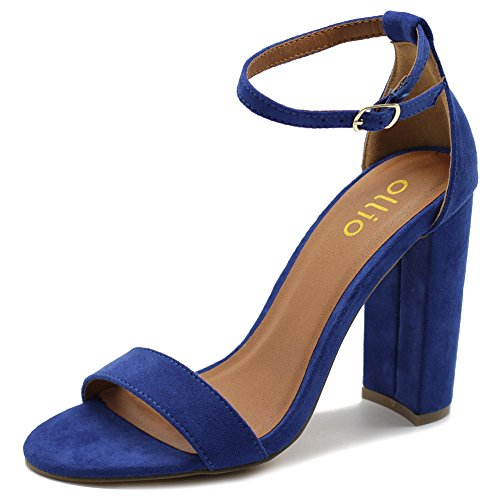 Heel Royal Blue Strap Ankle Womens Sandals Chunky Suede Simple Ollio Shoe High Faux wTx7YazP