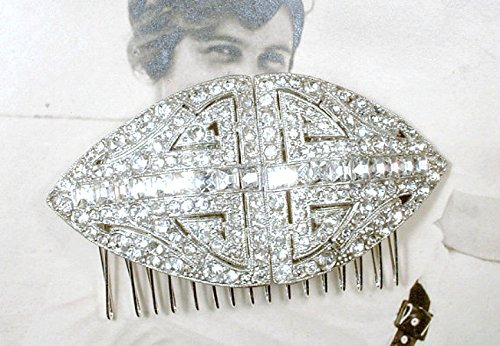 Vintage 1930s Bridal Hair Comb, Art Deco Crystal Rhinestone Large Hairpiece, Old Hollywood Glamour Headpiece, Great Gatsby Wedding Hair Piece by AmoreTreasure