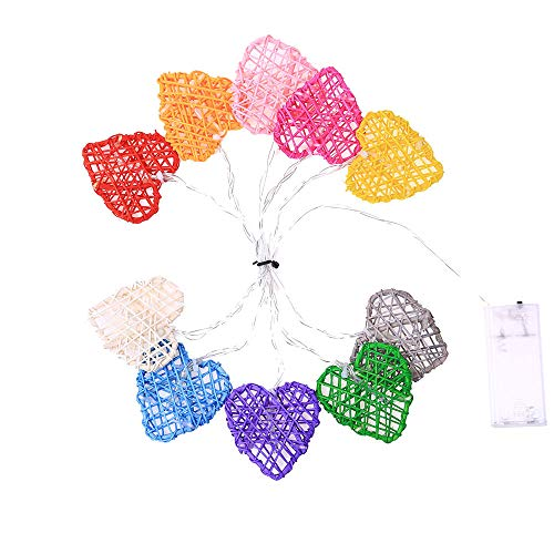 (Outsta Christmas Rattan Heart Shape 2M String Lights 10 LED Outdoor Indoor Ornament, Tree Xmas Craft Gift Holiday Decoration Indoor Party Decor (C))