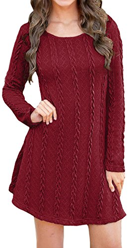 LunaJany Women's Long Sleeve Round Neck Cable Knit Pullover Sweater Dress