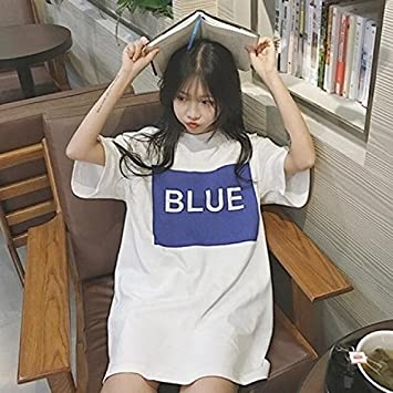 2018 spring and summer women new Korean fashion loose short-sleeved shirt  and long sections 728d916d2012