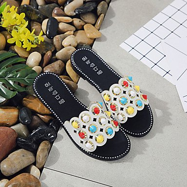 Blanco Mujer Confort LvYuan cms Black Negro 2'5 Menos Goma Verano de Sandalias Confort Plano Tacón qBp8F