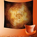 Nalahomeqq Horror House Decor Custom tapestry by Demon Trap Symbol Logo Ceremony Creepy Ritual Fantasy Paranormal Design Fabric drawing room Decor Orange 40 W x 60 L INCH