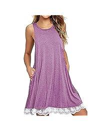 ASTV Women Tunic Dress Sleevesless Casual Cotton Sundress