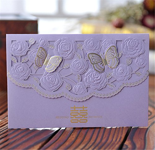- Skyseen 25Pcs Chinese Double Happiness Laser Cut Hollow Out Floral Design Wedding Invitation Card(Purple)