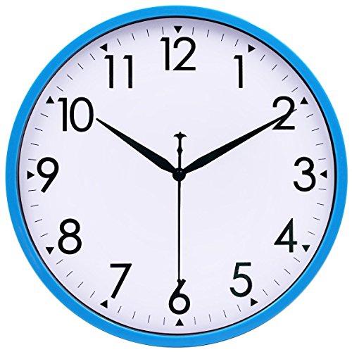 Hippih 10' Silent Quartz Decorative Wall Clock Non-ticking Digital (Blue)