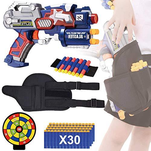 EXSPORT Blaster Gun with Tactical Waist Bag Holster, Paper Shooting Target, Refill Foam Bullet Darts 30PCS and Hand Wrist for Blaster Gun Compatible with Nerf Guns N-Strike Elite Series