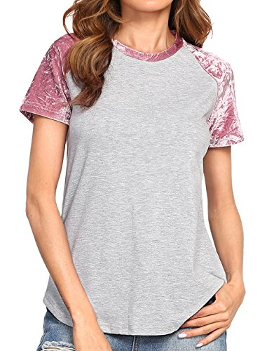 Heathered Raglan T-shirt (Romwe Women's Casual Raglan Short Sleeve Heathered T-Shirt Top Grey M)