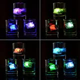 kingleder 12pcs Multi-Color Changing Liquid Sensor Ice Cubes Light Up LED Glow Light Drinking Wine Wedding Party Decoration Submersible LED Lights