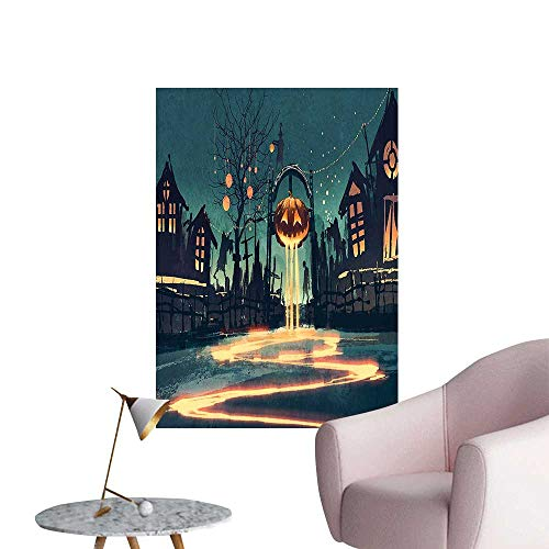 Wall Stickers for Living Room House Halloween Theme Night Pumpkin and Haunted House Ghost Town Artful Teal Vinyl Wall Stickers Print,32