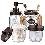 Mason Jar Bathroom Accessories Set(4 Pack) -Bronze-Lotion Soap Dispenser&Qtip Holder Set&Toothbrush Holder-Rustic Farmhouse Decor Apothecary Jar Bathroom Countertop,Vanity Organize (Bronze)