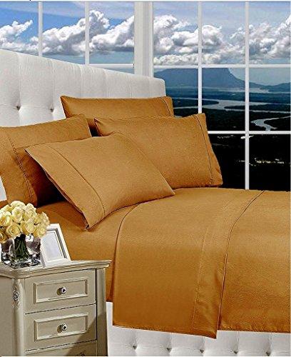 Rajlinen 100% Cotton Bed Sheet Set - 300 Thread Count Sateen - 15 inch Deep Pocket - Quality Luxury Bedding - 4 Piece (Bronze Solid (Bronze Bedding Set)