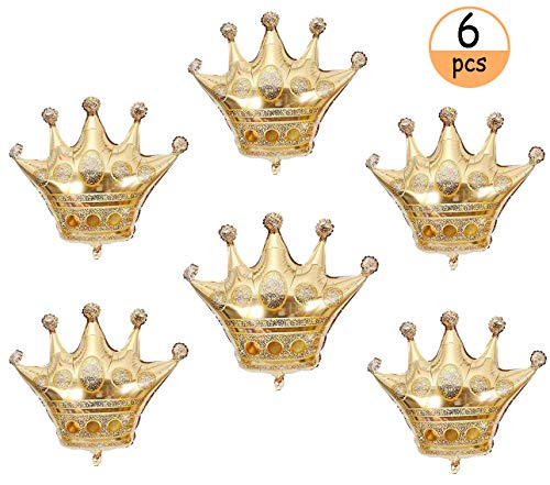 6 PCS Gold Crown Balloons Foil Helium Mylar Balloons for Kids Royal Prince Birthday Wedding Baby Shower Party -