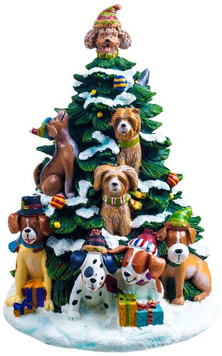 San Francisco Music Box Factory Holiday Dogs Lighted Tree ()
