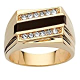 Palm Beach Jewelry Men's Emerald-Cut Genuine Black Onyx Crystal Accent 14k Yellow Gold-Plated Classic Ring