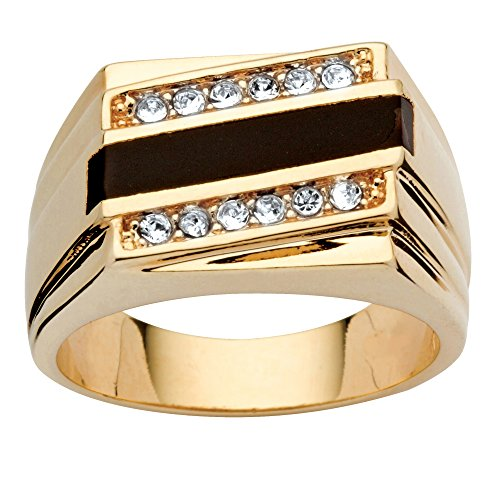 Palm Beach Jewelry Men's Emerald-Cut Genuine Black Onyx Crystal Accent 14k Yellow Gold-Plated Classic Ring Size 8 ()