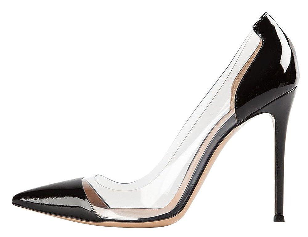 DYF Frauen nackt Scharfe feine Schuhe High Heel Transparent Light Big Größe Schwarz 48