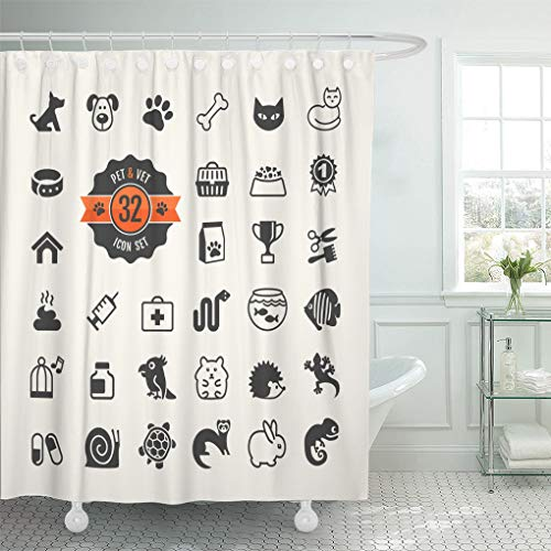 Emvency Shower Curtain Paw Dog Pet Vet Types of Food Turtle Tortoise Shower Curtains Sets with Hooks 60 x 72 Inches Waterproof Polyester Fabric