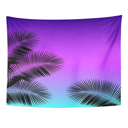 Emvency Tapestry 80 x 60 Inches Goa Palm Leaf Silhouettes on Gradient Sunset of The 80'S and 90'S Punk Vaporwave Kitsch Textil Island 80S Wall Hanging Home Decor Tapestries Bedroom Dorm Living Room from Emvency