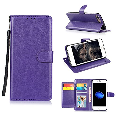 iPhone 7 Plus Case, iPhone 8 Plus Case, GPROVA Shockproof Wallet Card Holder Case with Credit Card Slots Detachable Cover Wrist Strap Handbag for iPhone 7 Plus and iPhone 8 Plus (Purple) (4s Iphone Case Purple Speck)