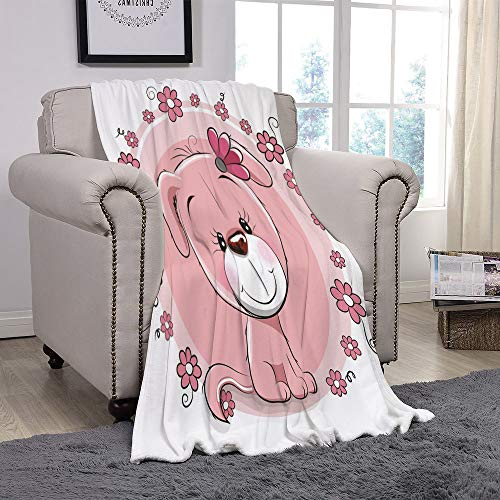 YOLIYANA Light Weight Fleece Throw Blanket/Dog,Cute Little Puppy with Daisy Flowers Cheerful Adorable Pet Girls Room Decor,Light Pink Coral White/for Couch Bed Sofa for Adults Teen Girls Boys ()