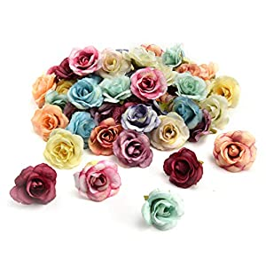 Fake flower heads in bulk wholesale for Crafts Peony Flower Head Silk Artificial Flowers Wedding Decoration DIY Decorative Wreath Fake Flowers Party Birthday Home Decor 30 Pieces 3.5cm (Colorful) 24