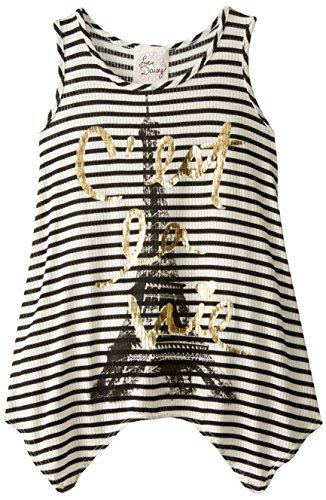 Love Daisy Big Girls' Eiffel Tower Tank Top, Ivory/Black, Small