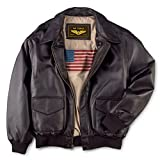 Landing Leathers Men's Air Force A-2 Leather Flight Bomber Jacket - Brown M