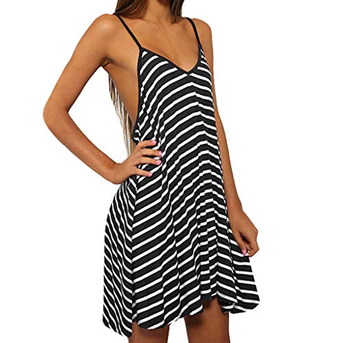 iHPH7 Dress Summer Print Sleeveless Casual Mini Dress Fashion Summer Casual Backless Stripes Loose V-Neck Halter Dress Women (S,8- Black)