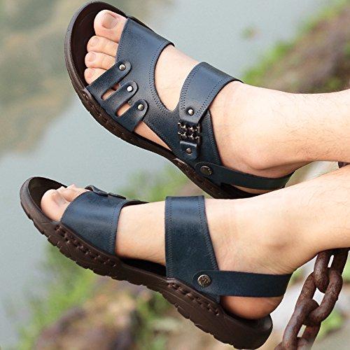 Xing Lin Sandalias De Mujer Los Hombres Sandalias De Playa En Verano, La Marea Masculino Zapatillas Tendencia Todos-Match Calzado Casual Sandalias Blue 1