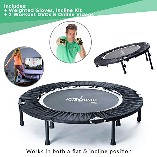 Maximus HIIT Bounce PRO | Workout Trampoline for Adults | Folding Rebounder with Flat or Incline for High Intensity Cardio Exercise to Improve Agility | Includes DVD for Fitness and Runners!