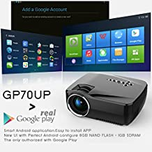 Red&Blue 3D Android 4.4 MINI wifi Projector 1200 Lm Support 1920x1080P Analog TV LED portable Projector for Home Theater Cinema mini projector