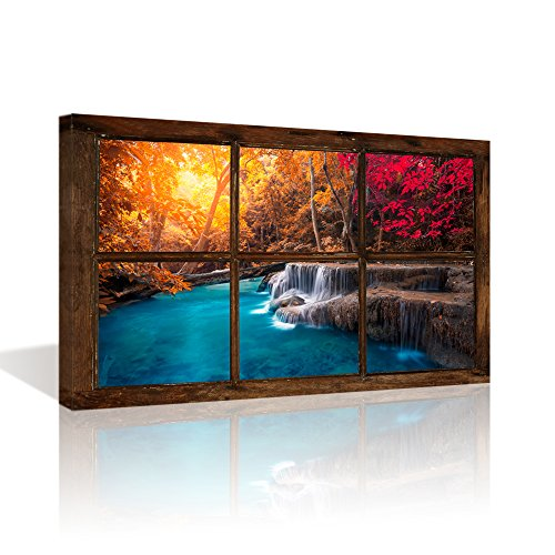 Kolo Wall Art Large Retro Vintage Window Frame Style Gold Sunshine Red Forest Blue Lake Scenery Wall Art Picture Cavnas Prints Ready to Hang (Not Real Window Wooden Frame, Only Print on Canvas) ()