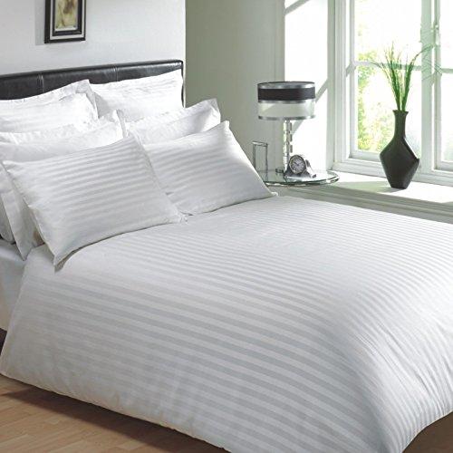 300TC Duvet Quilt Cover Bedding Set 100/% PURE COTTON SATEEN STRIPE ALL SIZES